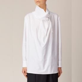 Yohji Yamamoto + NOIR - White Draped Blouse